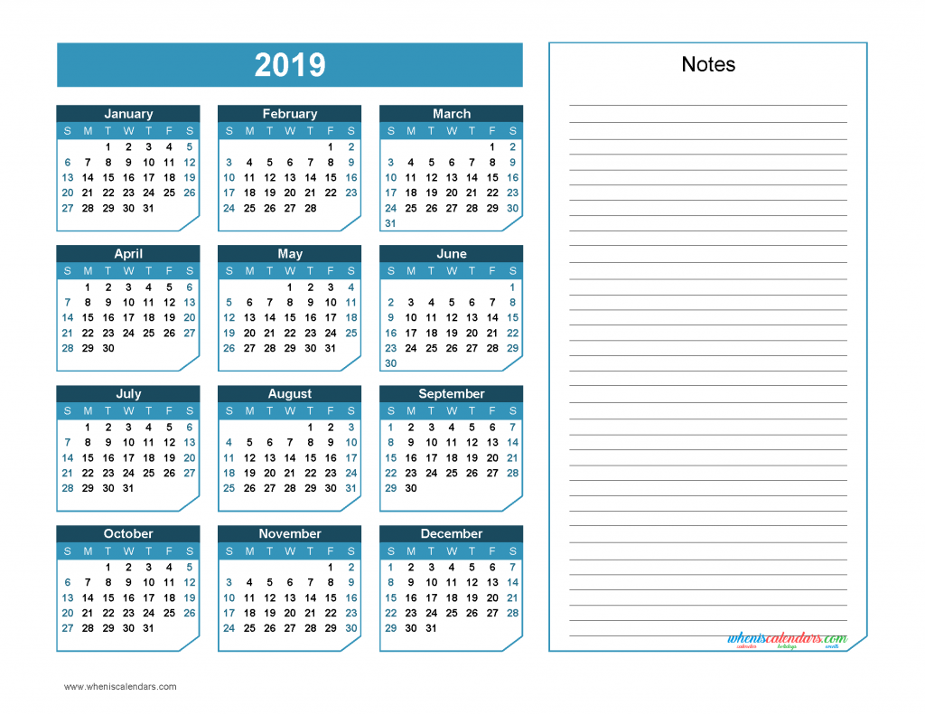 2019 Yearly Calendar with Notes Printable - Chamfer Collection, Blue Green Design