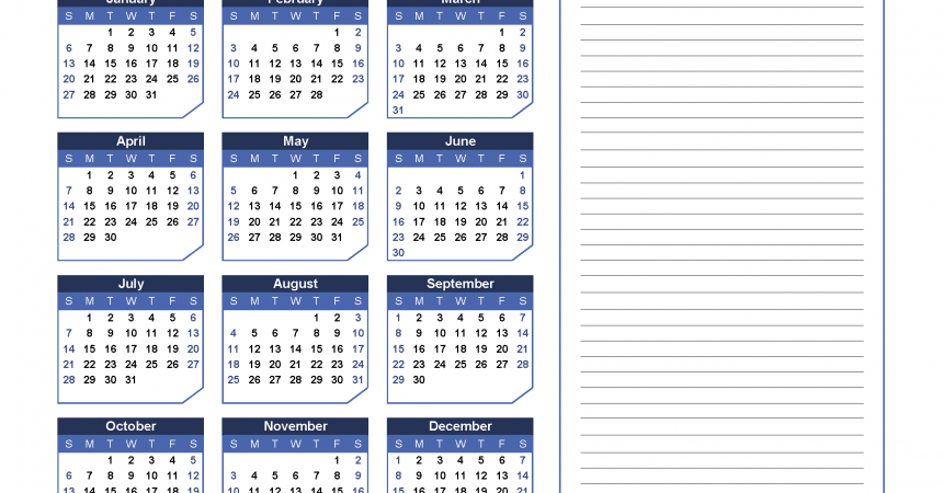2019 Yearly Calendar with Notes Printable - Chamfer Collection, Blue Warm Design