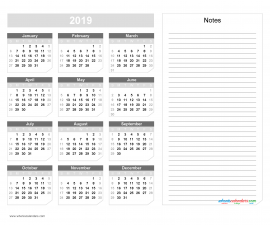 2019 Yearly Calendar with Notes Printable - Chamfer Collection, Gray Scale Design