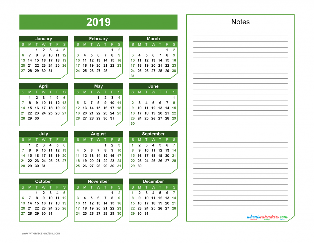 2019 Yearly Calendar with Notes Printable - Chamfer Collection, Green Design