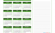 2019 Yearly Calendar with Notes Printable Chamfer Collection,