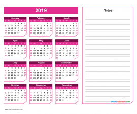 2019 Yearly Calendar with Notes Printable - Chamfer Collection, Red Violet Design
