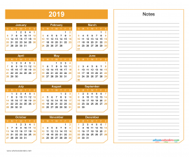2019 Yearly Calendar with Notes Printable - Chamfer Collection, Yellow Orange Design