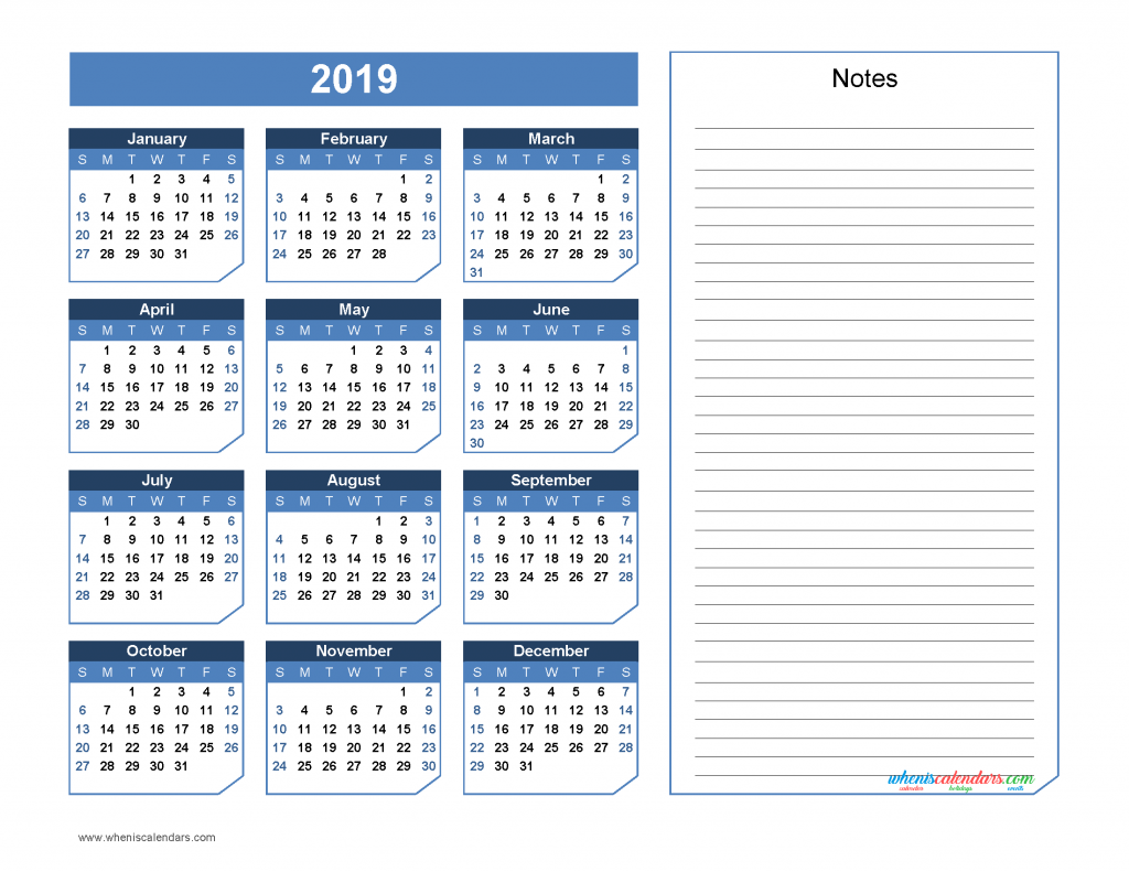 2019 Yearly Calendar with Notes Printable - Chamfer Collection, Office Style