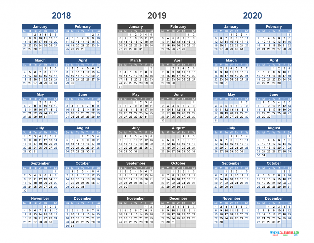 graphic about 3 Year Calendar Printable identified as Printable Calendar 2018 2019 and 2020 - 3 12 months Calendar