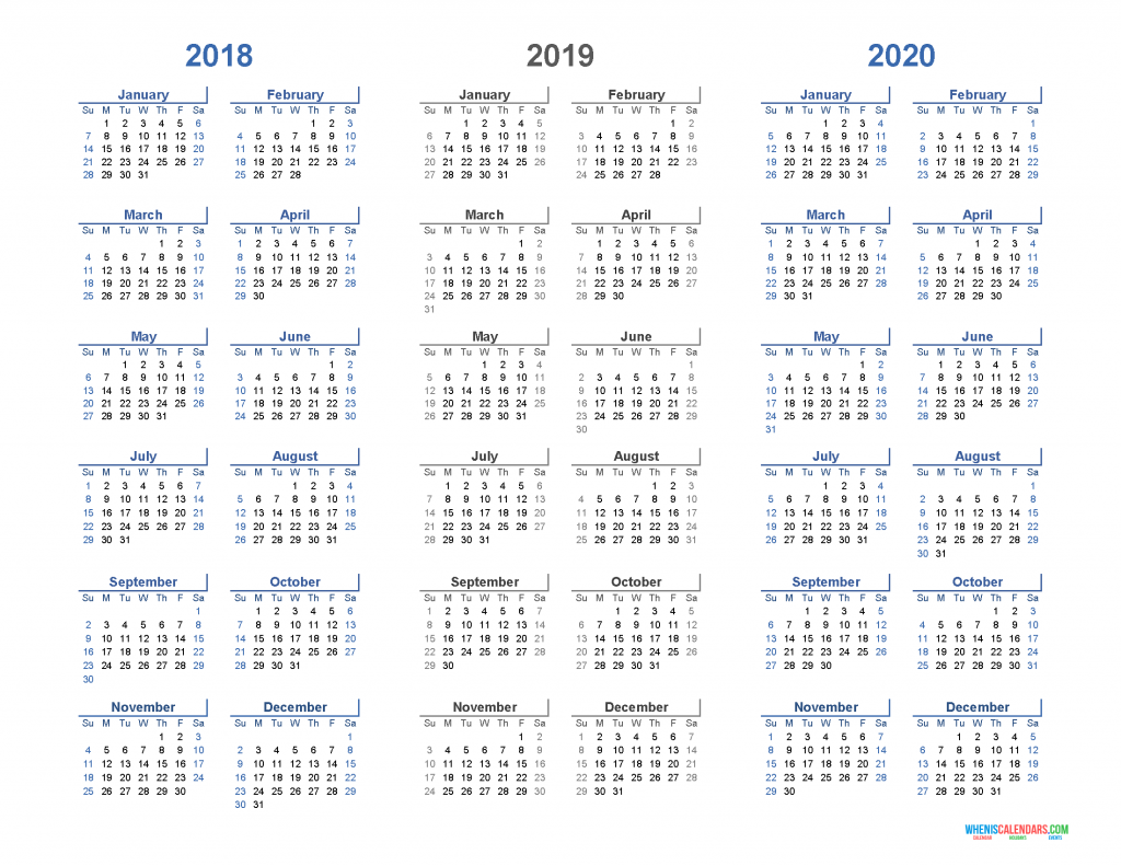 Printable Calendar 2018 2019 2020 - 3 Year Calendar Template