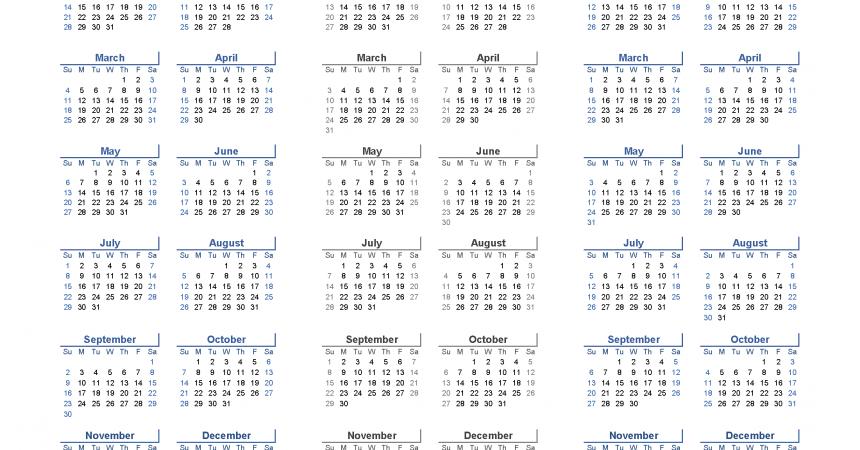 Printable Calendar 2018 2019 2020 - 3 Year Calendar Template