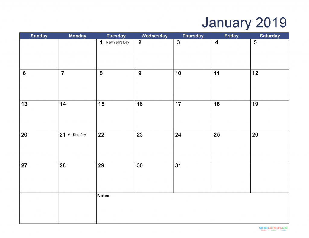 Free Download Printable January 2019 Calendar With Holidays Free