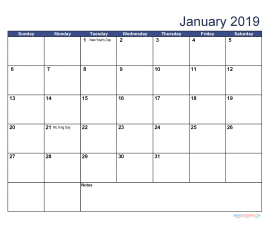 Printable January 2019 Calendar with Holidays