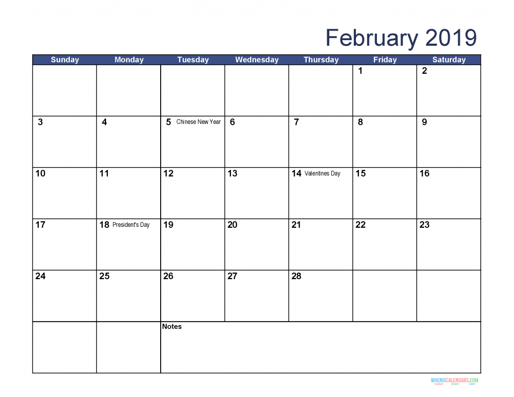 Free Download Printable February 2019 Calendar with Holidays