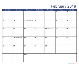Printable February 2019 Calendar with Holidays