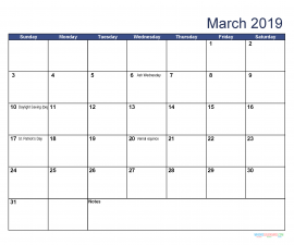 Printable March 2019 Calendar with Holidays