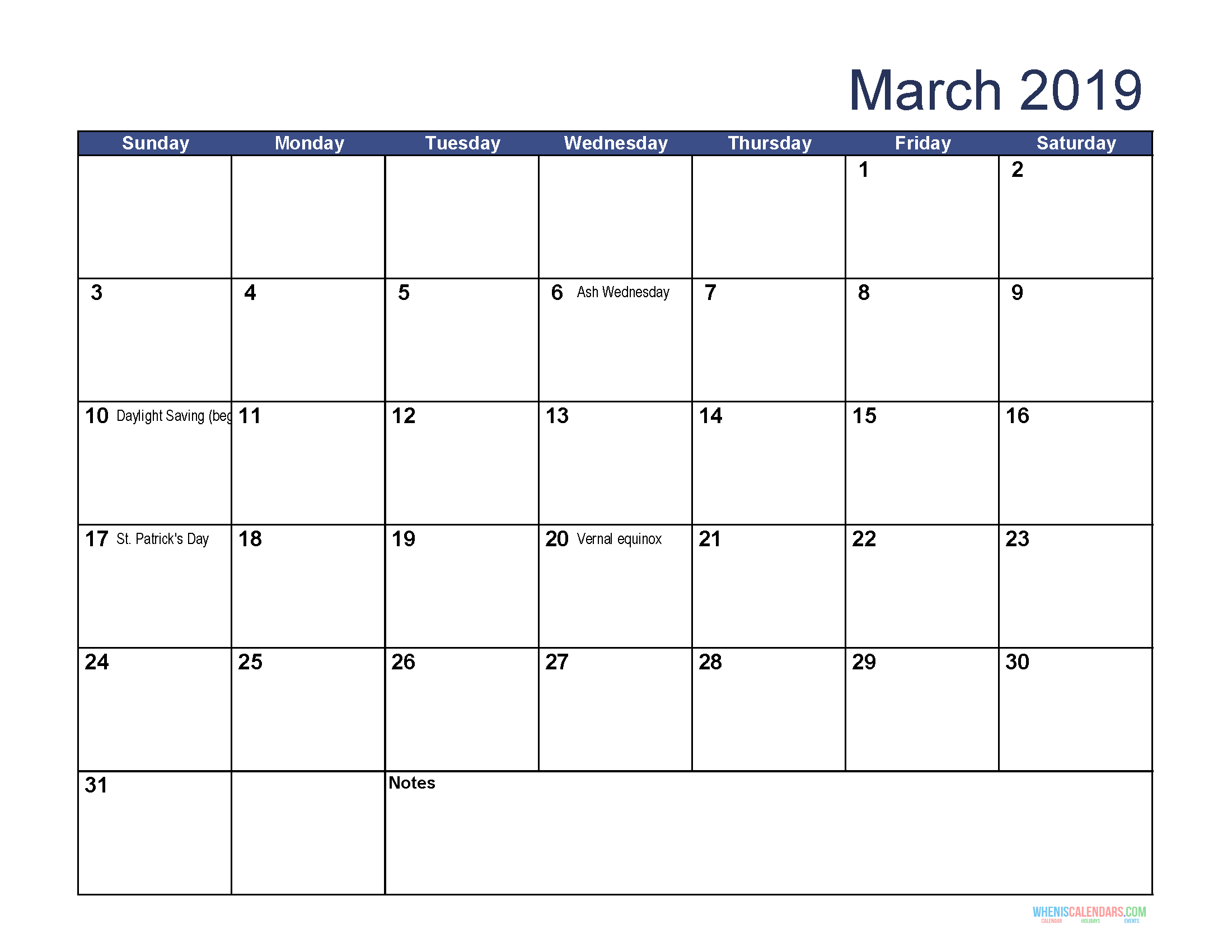 picture about Printable March Calendar Pdf titled No cost Down load Printable March 2019 Calendar with Holiday seasons