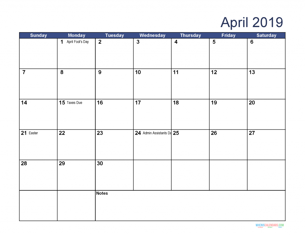 Free Download Printable April 2019 Calendar with Holidays
