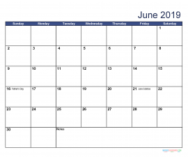 Printable June 2019 Calendar with Holidays