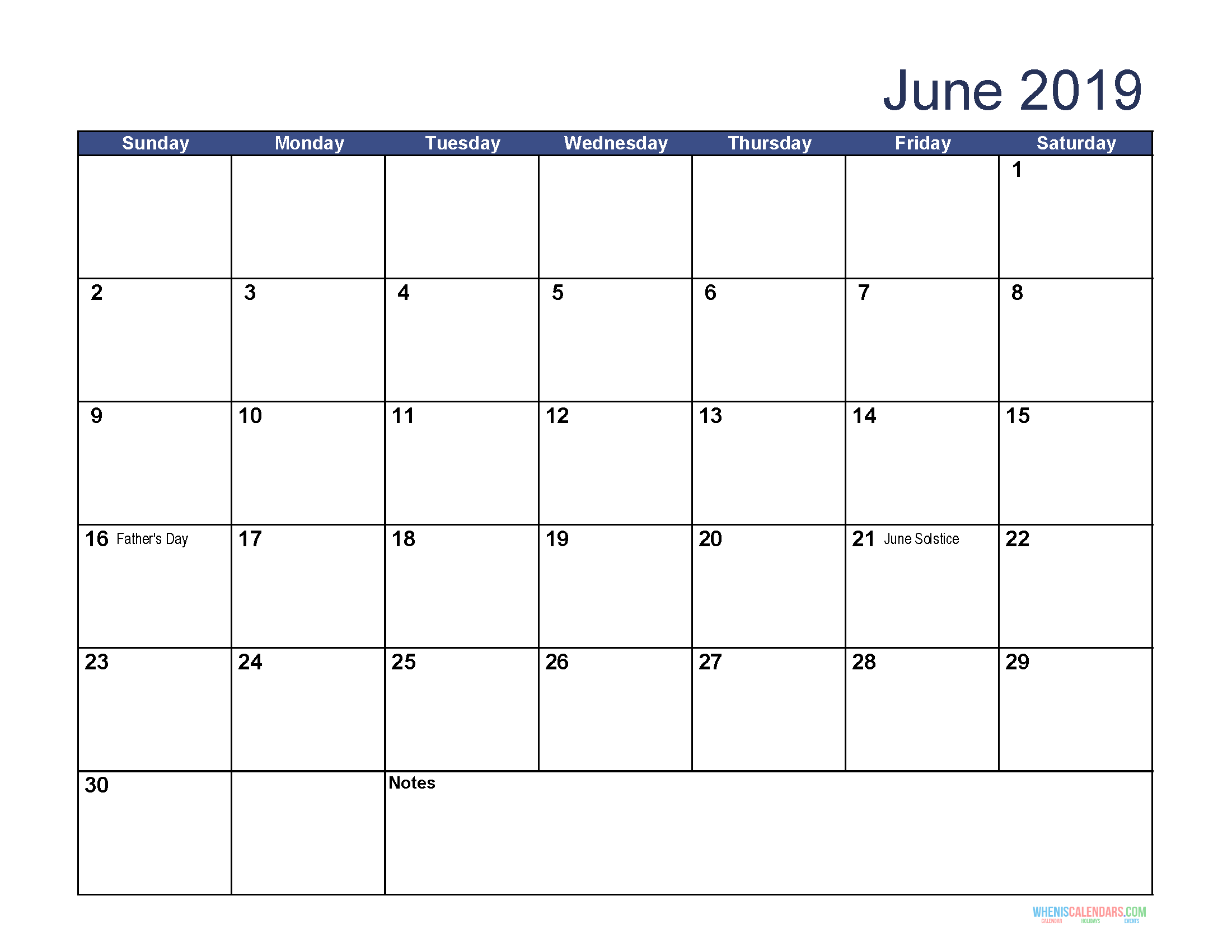 Free Download Printable June 2019 Calendar with Holidays