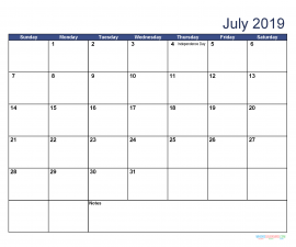 Printable July 2019 Calendar with Holidays