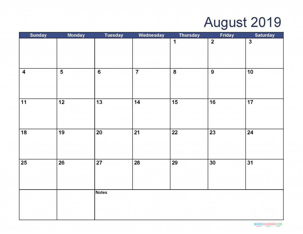 Free Download Printable August 2019 Calendar with Holidays