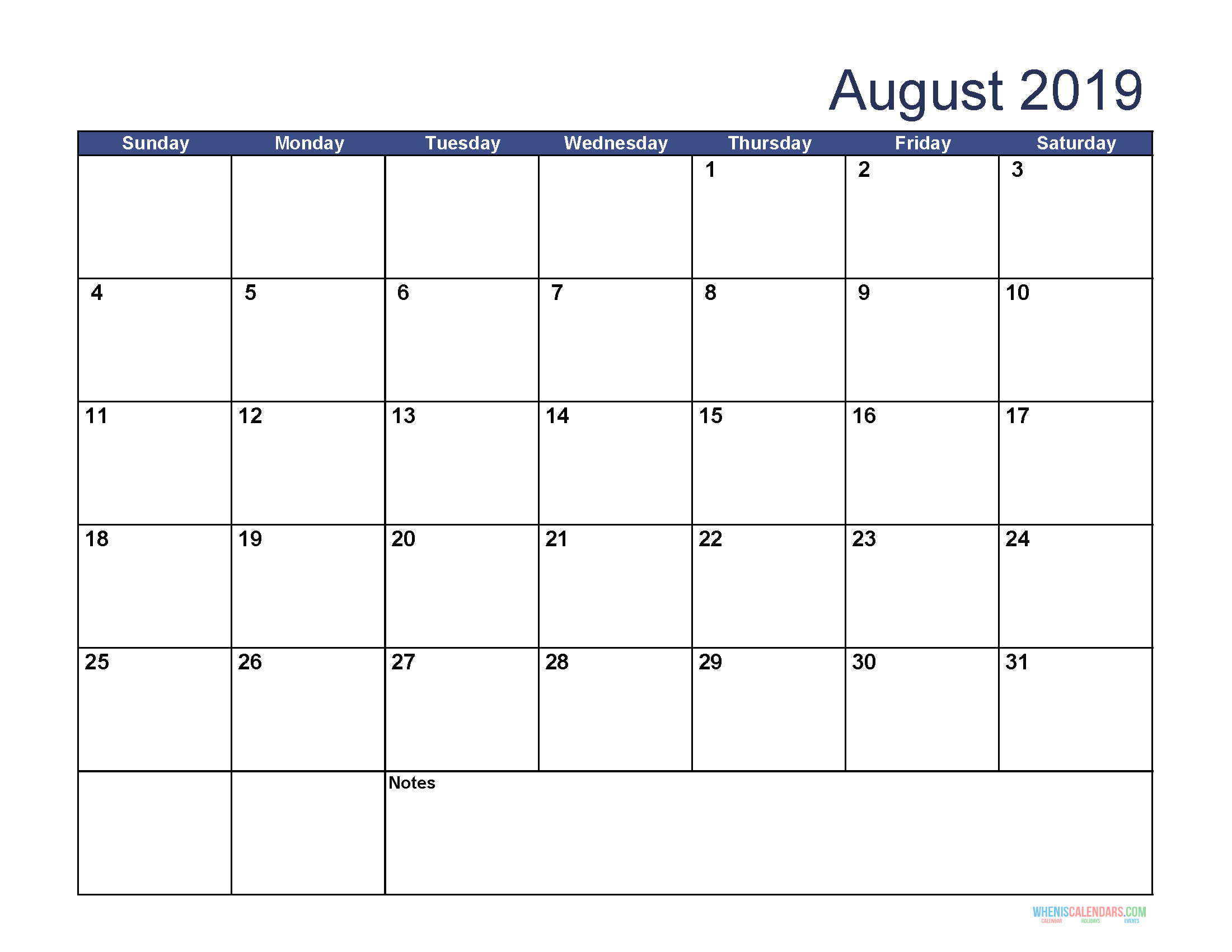 Free Download Printable August 2019 Calendar With Holidays Free