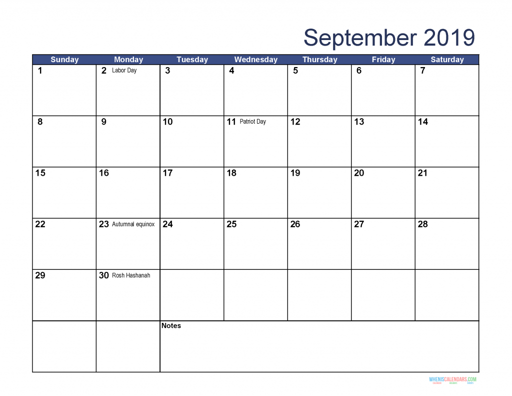 Free Download Printable September 2019 Calendar with Holidays