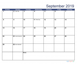 Printable September 2019 Calendar with Holidays