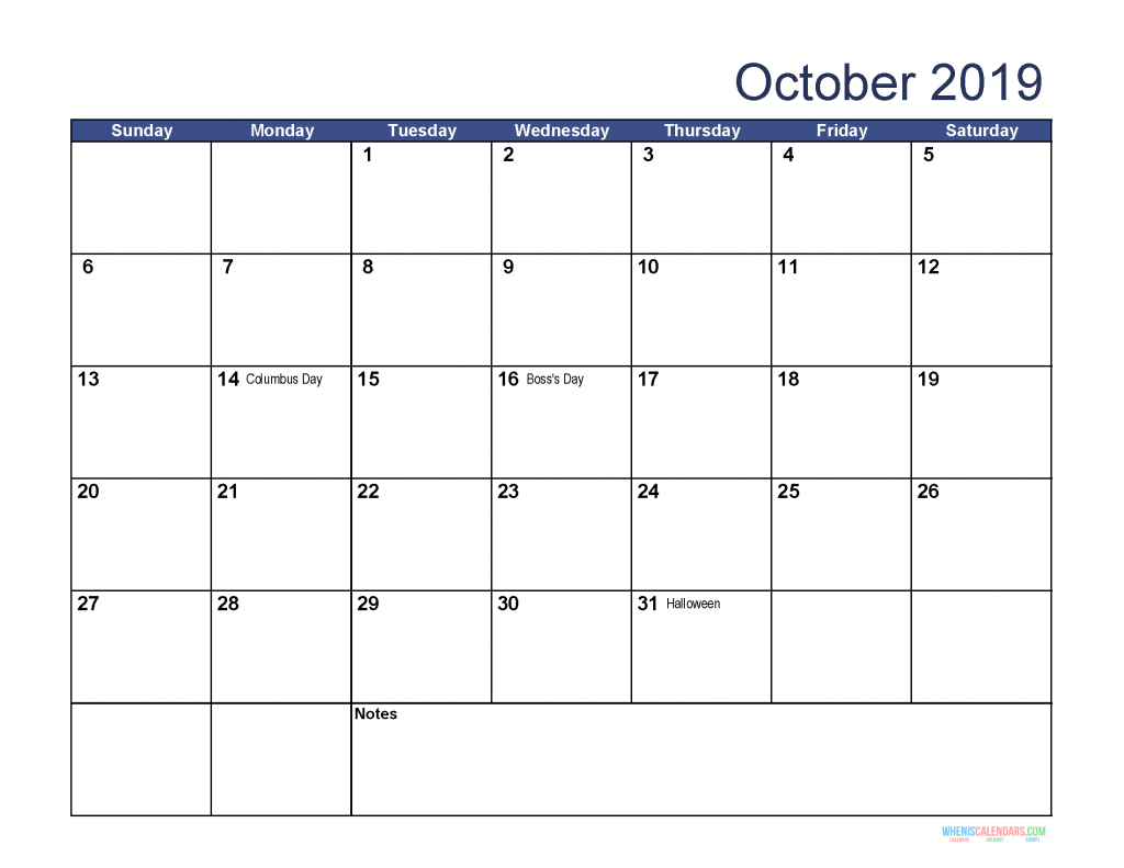 Free Download Printable October 2019 Calendar With Holidays Free