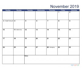 Printable November 2019 Calendar with Holidays