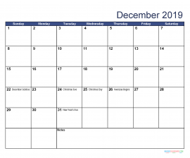 Printable December 2019 Calendar with Holidays