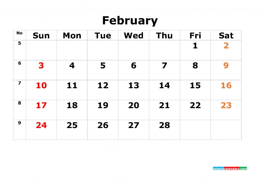 Printable Calendar Template February 2019 as PDF and JPG