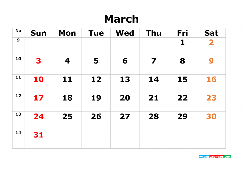 Printable Calendar Template March 2019 as PDF and JPG