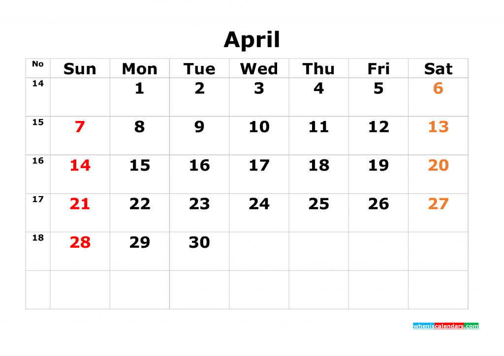 Printable Calendar Template April 2019 as PDF and JPG