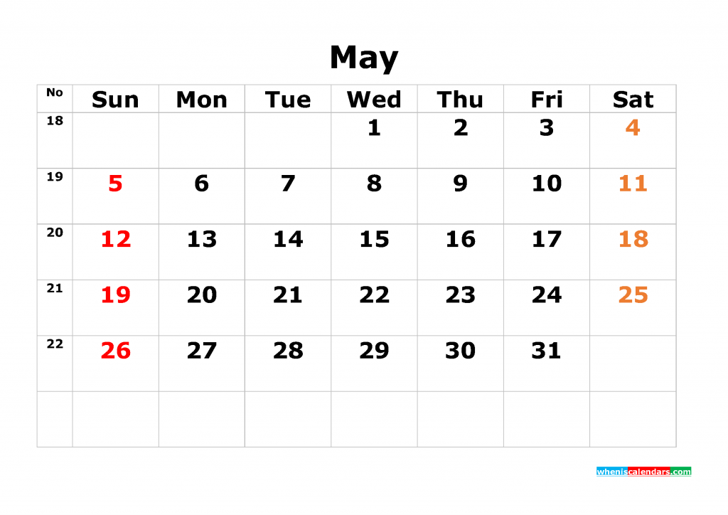 Printable Calendar Template May 2019 as PDF and JPG