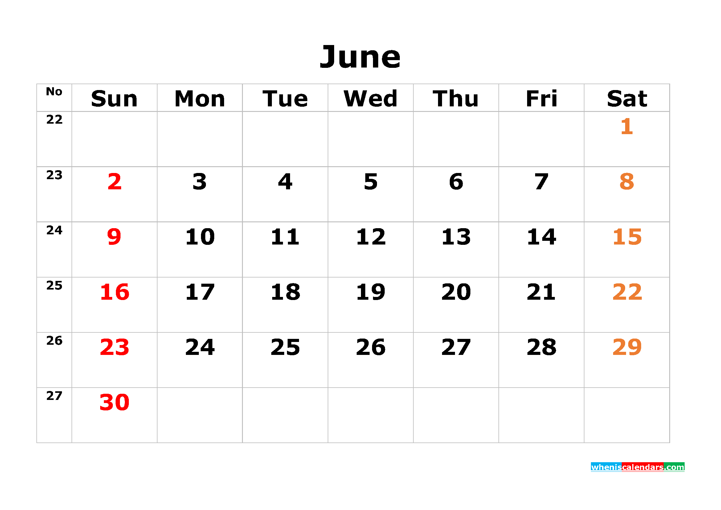 printable calendar template june 2019 as pdf and image