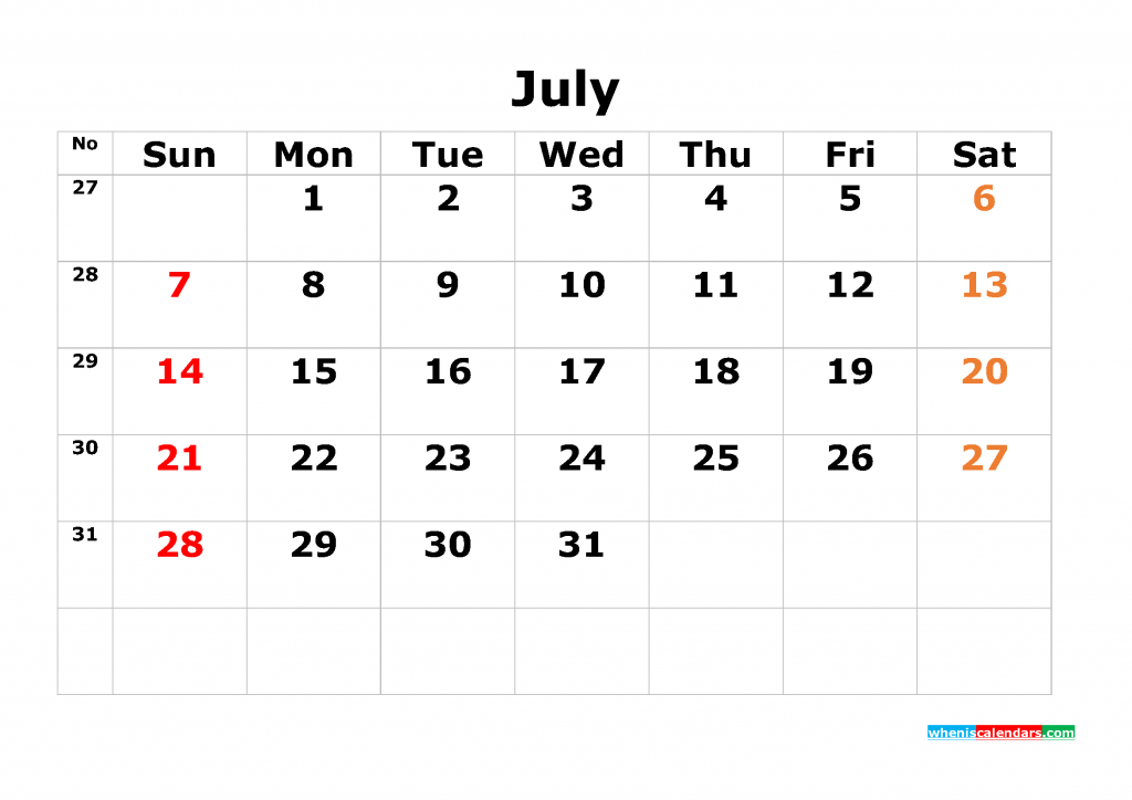Printable Calendar Template July 2019 as PDF and JPG