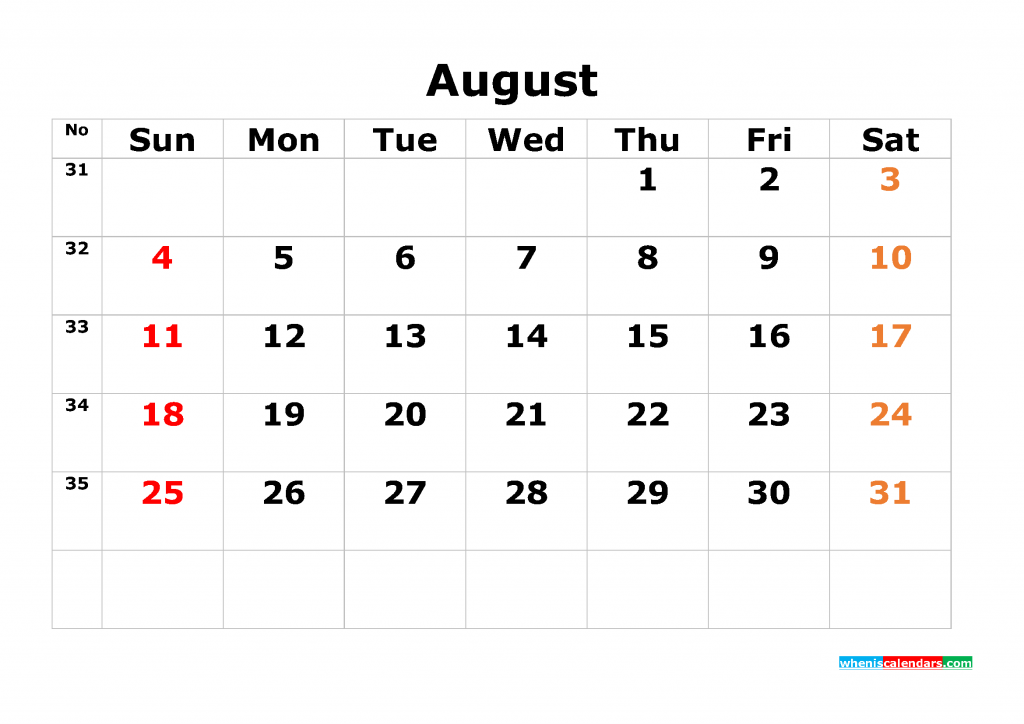 Printable Calendar Template August 2019 as PDF and JPG