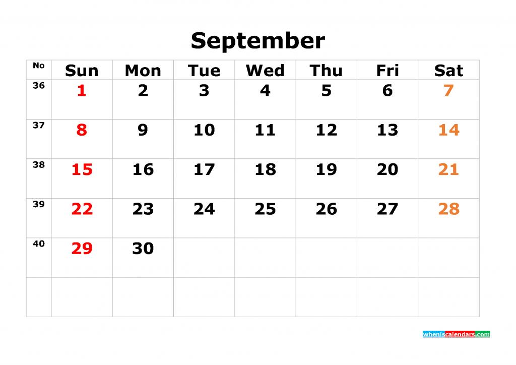 Printable Calendar Template September 2019 as PDF and JPG