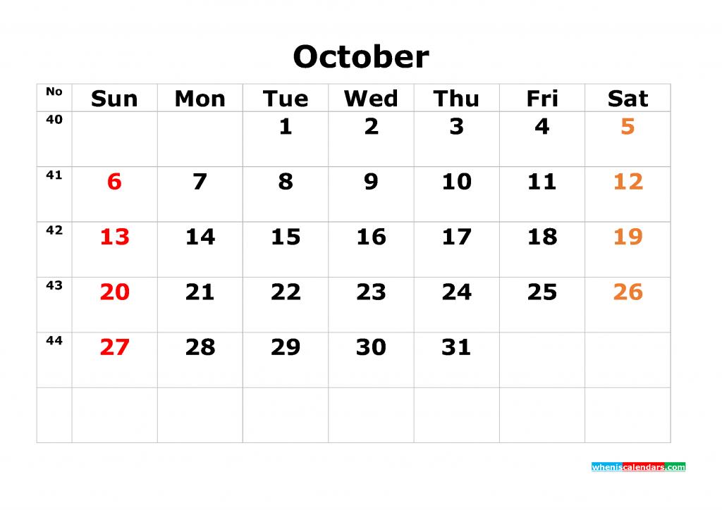 Printable Calendar Template October 2019 as PDF and JPG
