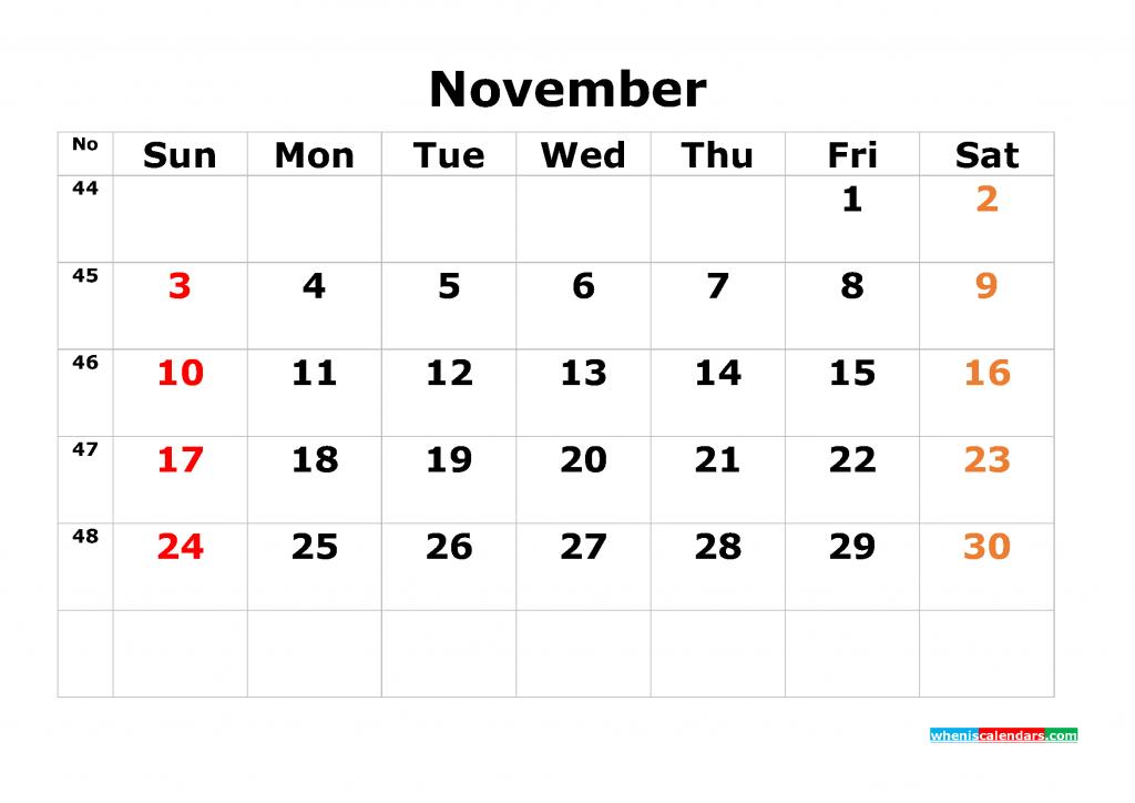 Printable Calendar Template November 2019 as PDF and JPG