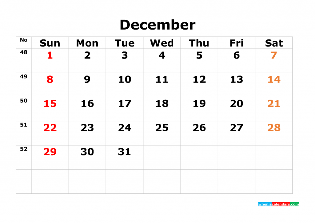 Printable Calendar Template December 2019 as PDF and JPG