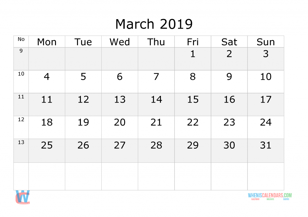 March 2019 Calendar with week numbers printable, start by Monday