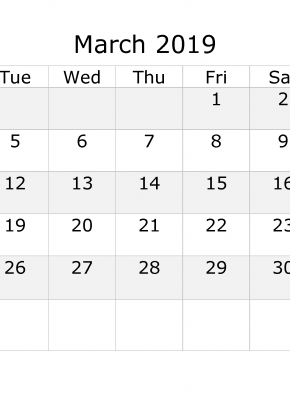 March 2019 Calendar with week numbers printable, week day start with Monday