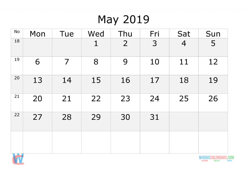 May 2019 Calendar with week numbers printable, start by Monday