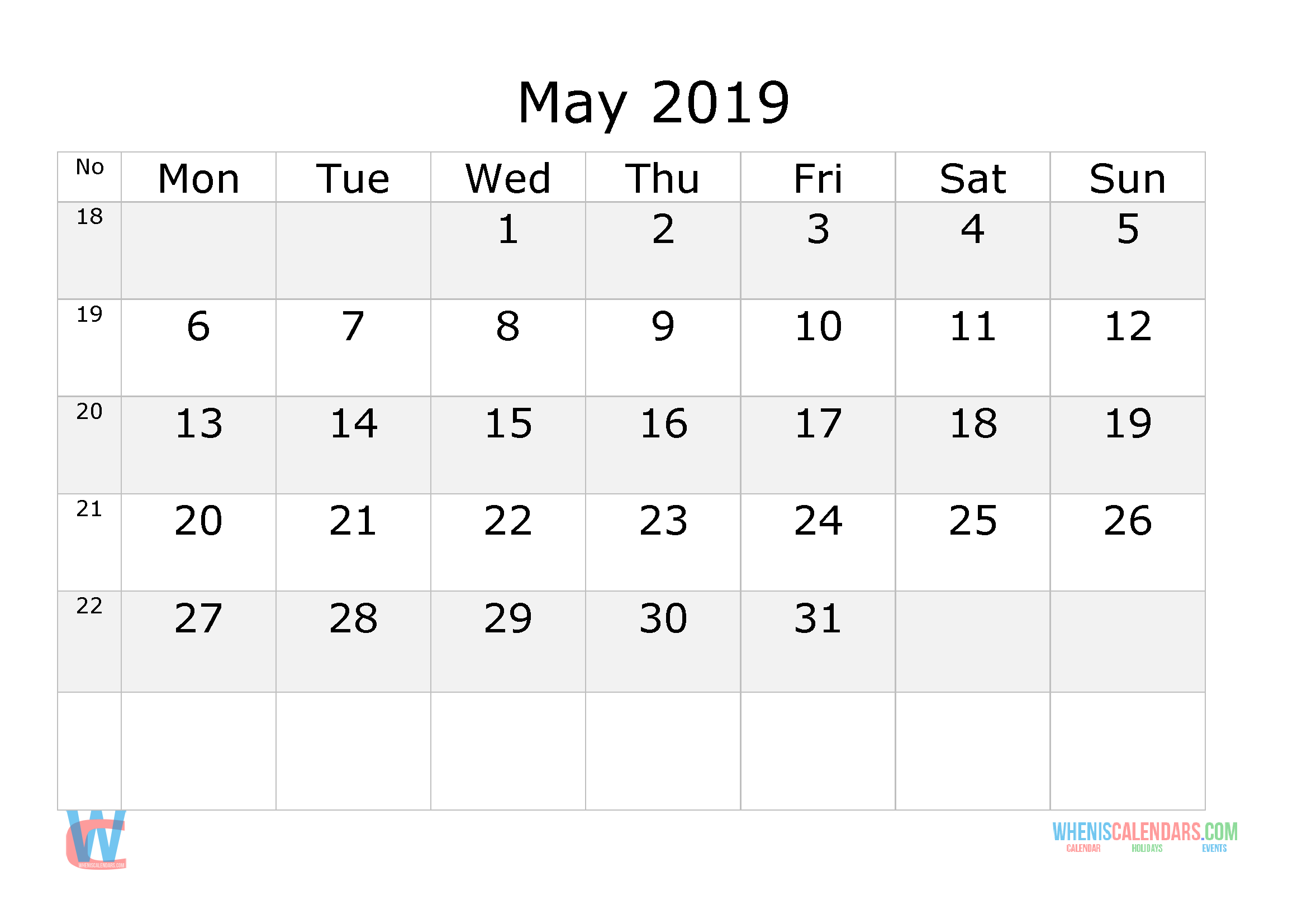 May 2019 Calendar With Week Numbers Printable Start By
