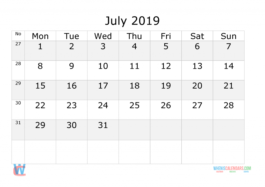 2019 Calendar with Week Numbers Printable, Starts on ...