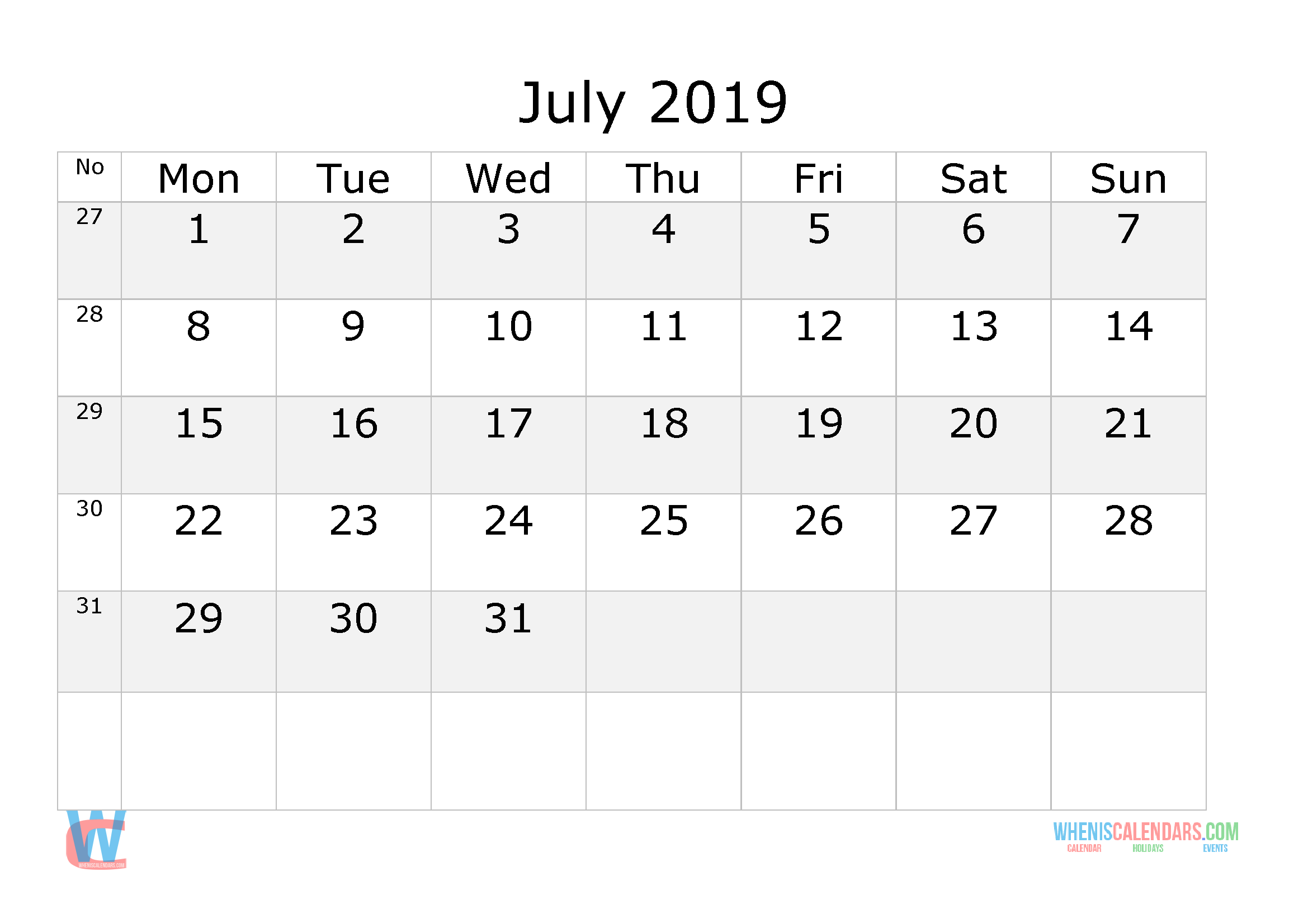 july 2019 calendar with week numbers printable  start by monday