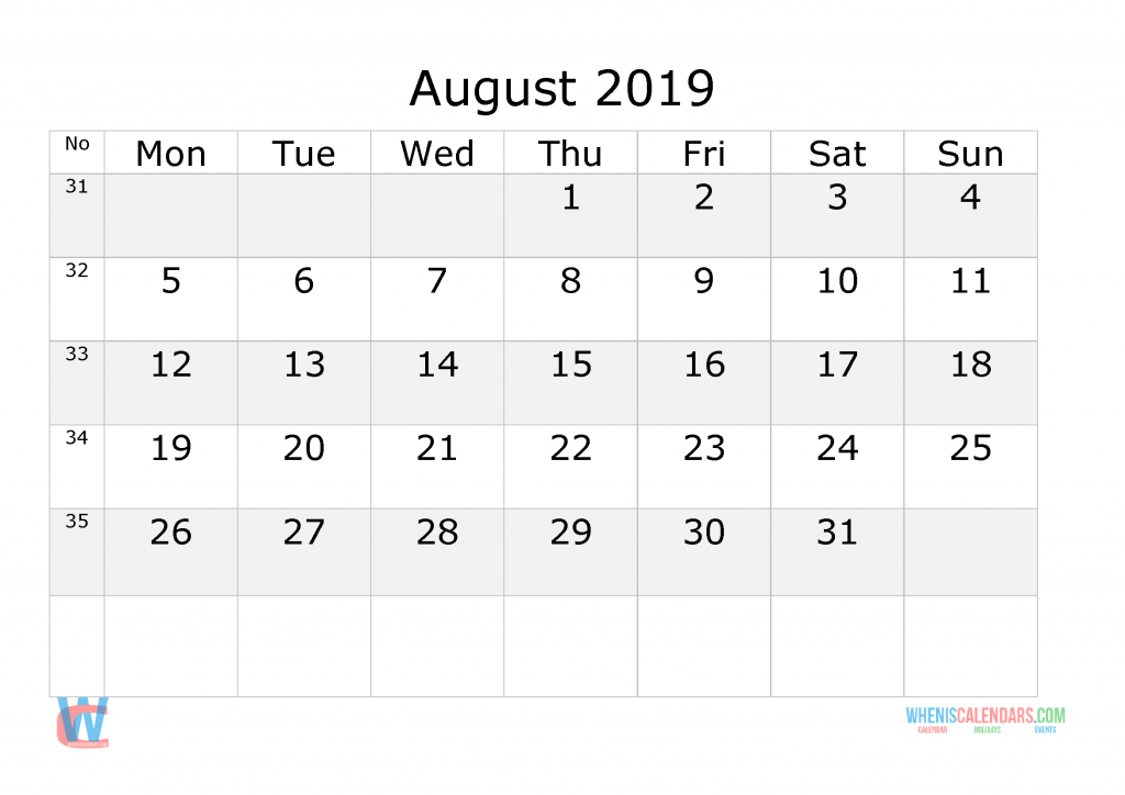August 2019 Calendar with week numbers printable, start by Monday