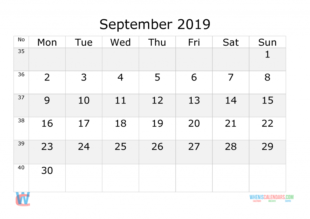 September 2019 Calendar with week numbers printable, start by Monday