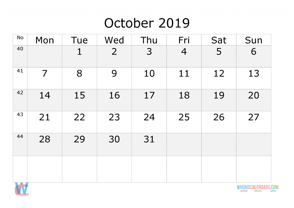 October 2019 Calendar with week numbers printable, start by Monday