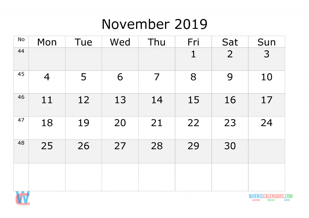 November 2019 Calendar with week numbers printable, start by Monday