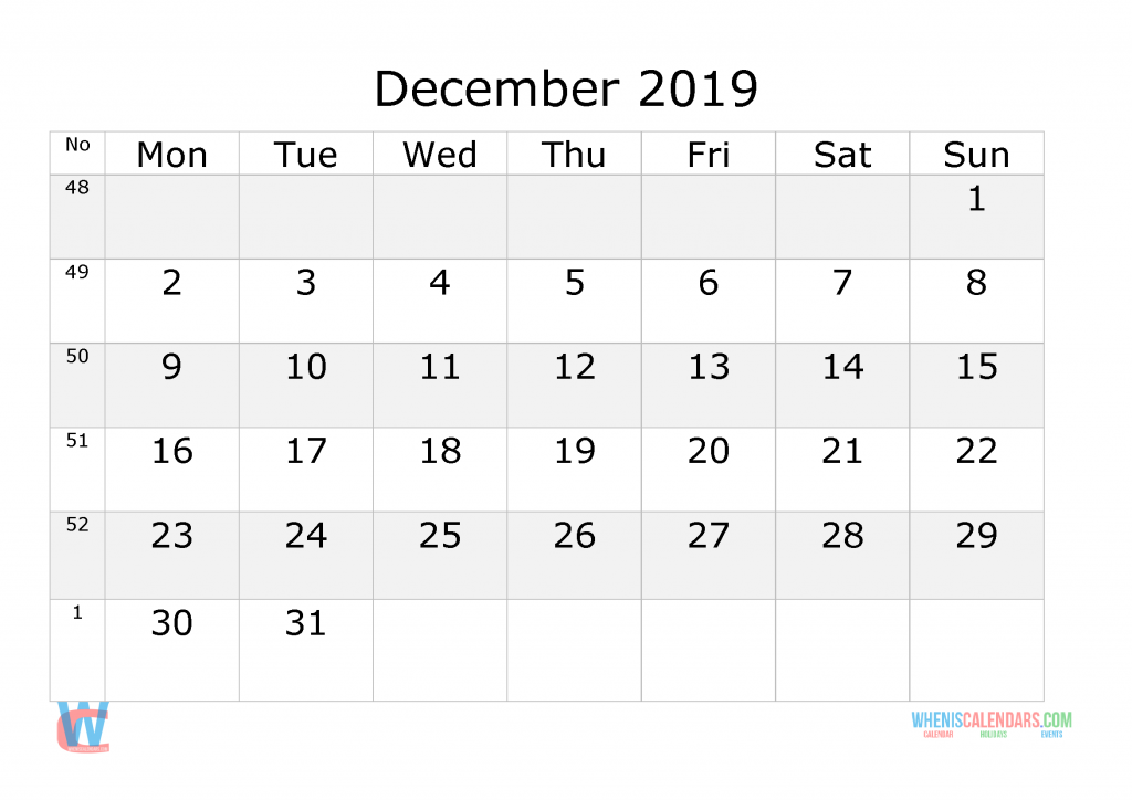 December 2019 Calendar with week numbers printable, start by Monday